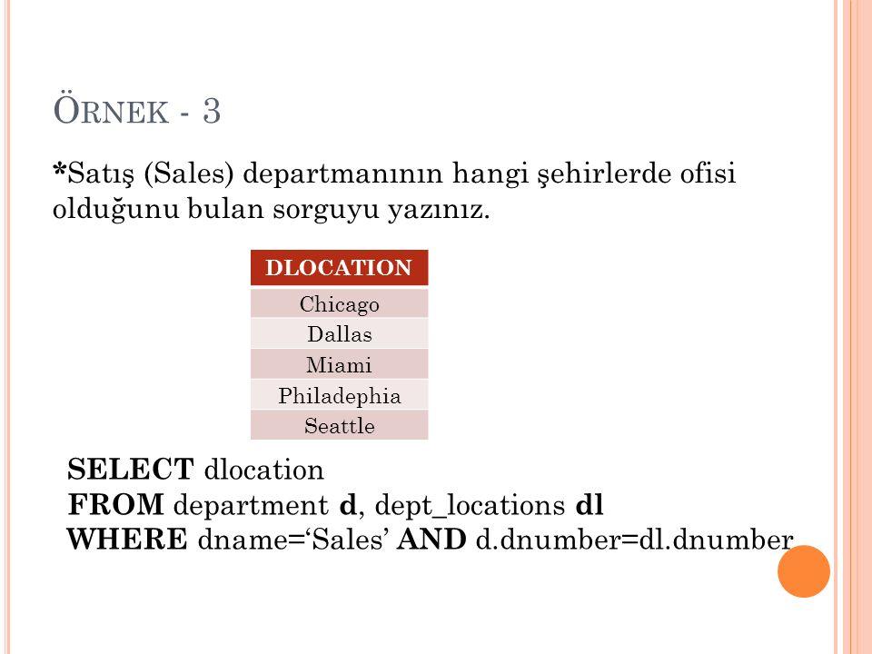 Ö RNEK - 3 SELECT dlocation FROM department d, dept_locations dl WHERE dname='Sales' AND d.dnumber=dl.dnumber * Satış (Sales) departmanının hangi şehirlerde ofisi olduğunu bulan sorguyu yazınız.