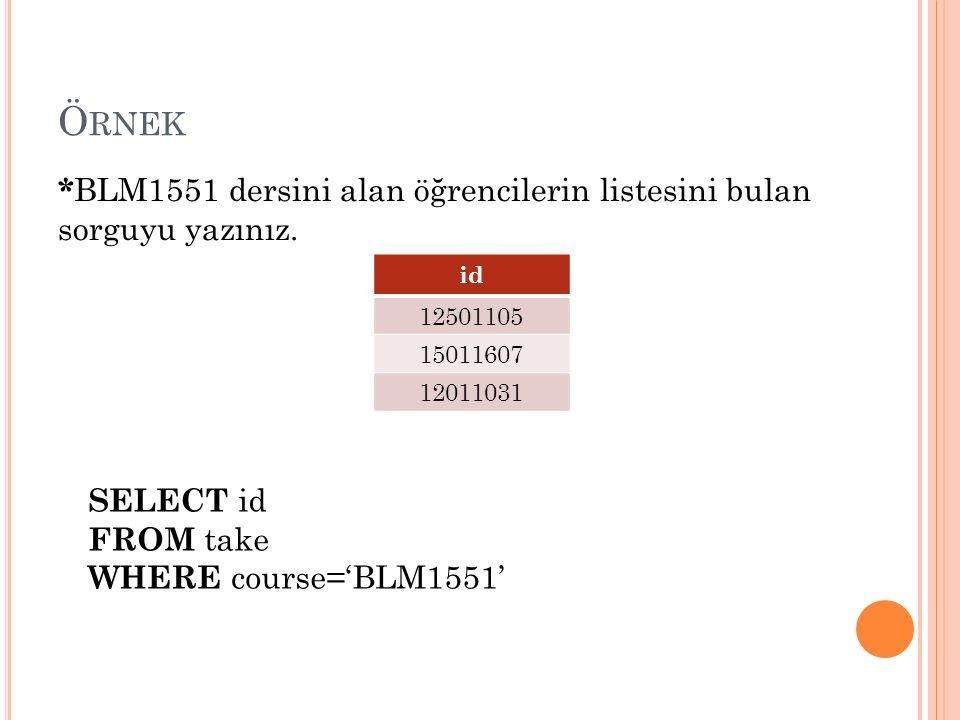 Ö RNEK SELECT id FROM take WHERE course='BLM1551' * BLM1551 dersini alan öğrencilerin listesini bulan sorguyu yazınız.