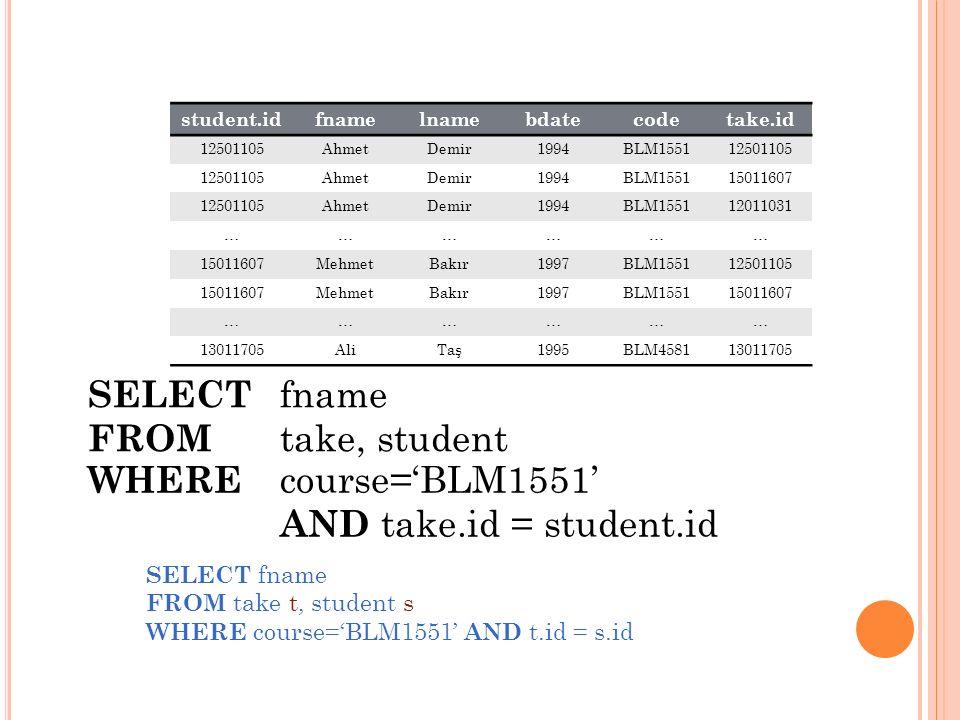 Ö RNEK * «Ahmet» isimli öğrencinin aldığı derslerin isimlerini bulan sorguyu yazınız.