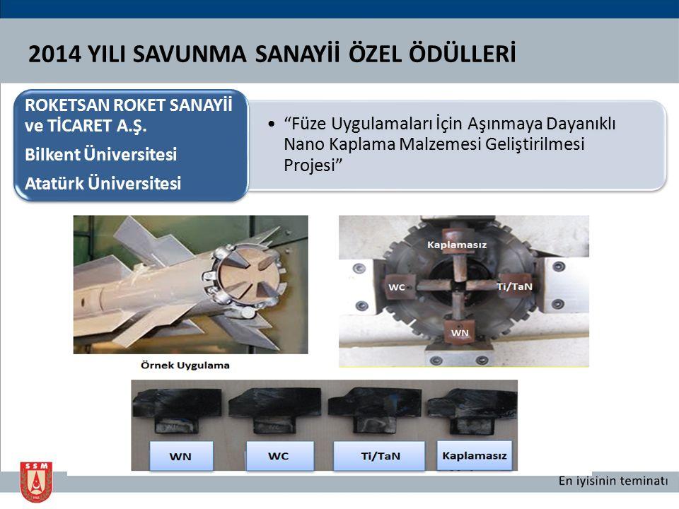 Başarılı Kümelenme Faaliyetleri ve 2013 yılında gerçekleştirilen Ankara Savunma ve Havacılıkta Endüstriyel İşbirliği Günleri organizasyonun başarı ile yürütülmesi. OSSA OSTİM Savunma ve Havacılık Kümelenmesi 2014 YILI SAVUNMA SANAYİİ ÖZEL ÖDÜLLERİ