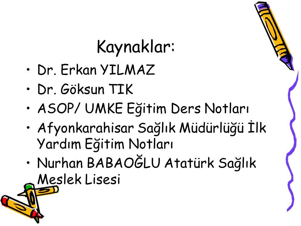 Kaynaklar: Dr. Erkan YILMAZ Dr.