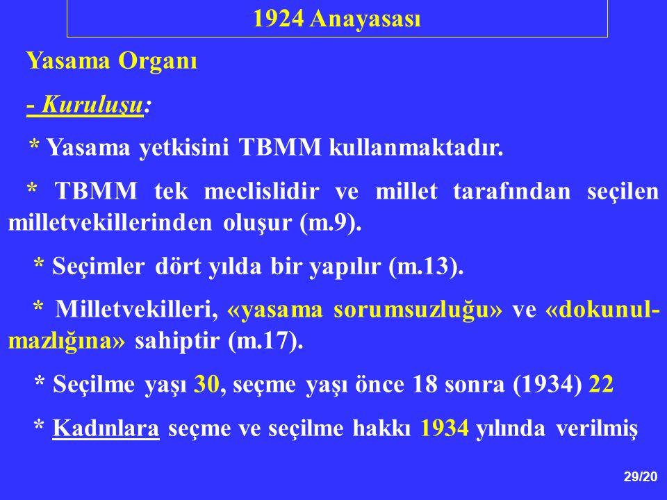 29/20 Yasama Organı - Kuruluşu: * Yasama yetkisini TBMM kullanmaktadır. * TBMM tek meclislidir ve millet tarafından seçilen milletvekillerinden oluşur