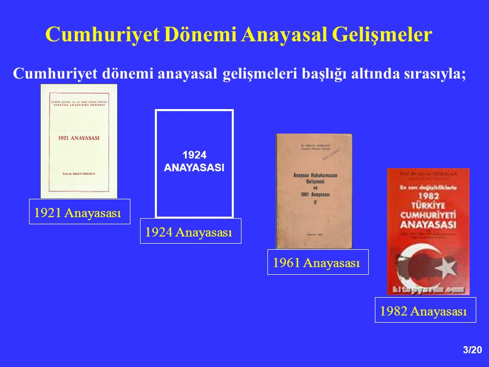 3/20 Cumhuriyet dönemi anayasal gelişmeleri başlığı altında sırasıyla; Cumhuriyet Dönemi Anayasal Gelişmeler 1924 ANAYASASI 1921 Anayasası 1924 Anayas