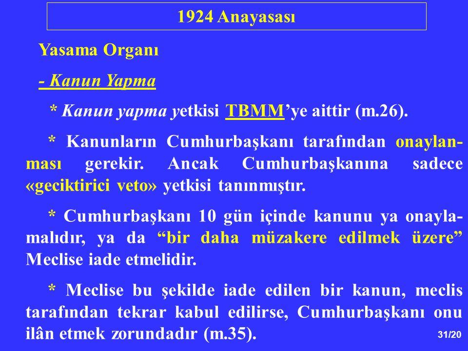 31/20 Yasama Organı - Kanun Yapma * Kanun yapma yetkisi TBMM'ye aittir (m.26). * Kanunların Cumhurbaşkanı tarafından onaylan- ması gerekir. Ancak Cumh