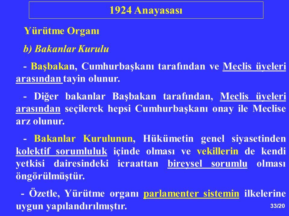 33/20 Yürütme Organı b) Bakanlar Kurulu - Başbakan, Cumhurbaşkanı tarafından ve Meclis üyeleri arasından tayin olunur. - Diğer bakanlar Başbakan taraf