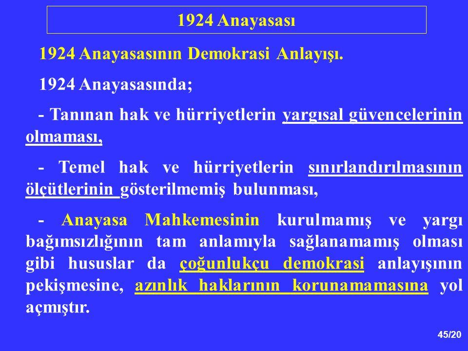 45/20 1924 Anayasasının Demokrasi Anlayışı. 1924 Anayasasında; - Tanınan hak ve hürriyetlerin yargısal güvencelerinin olmaması, - Temel hak ve hürriye