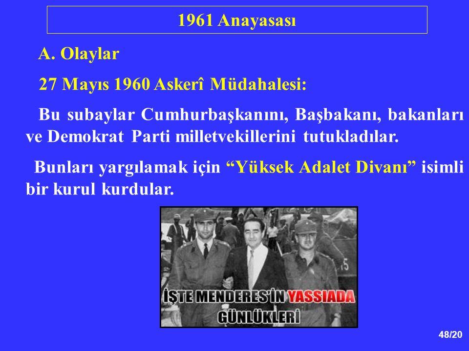 48/20 A. Olaylar 27 Mayıs 1960 Askerî Müdahalesi: Bu subaylar Cumhurbaşkanını, Başbakanı, bakanları ve Demokrat Parti milletvekillerini tutukladılar.