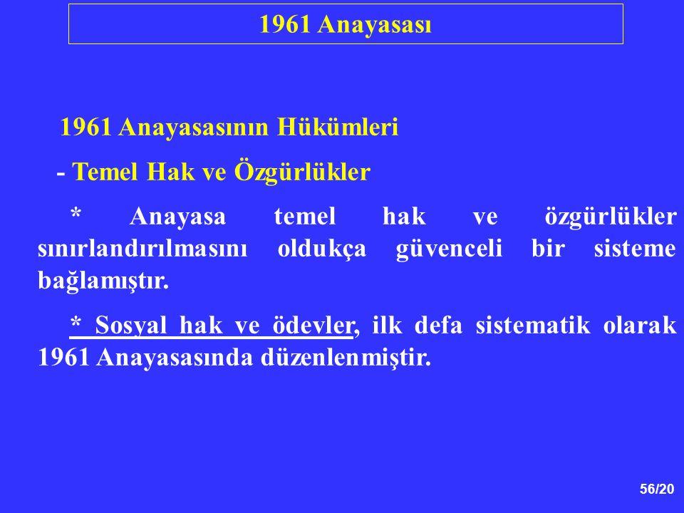 56/20 1961 Anayasasının Hükümleri - Temel Hak ve Özgürlükler * Anayasa temel hak ve özgürlükler sınırlandırılmasını oldukça güvenceli bir sisteme bağl