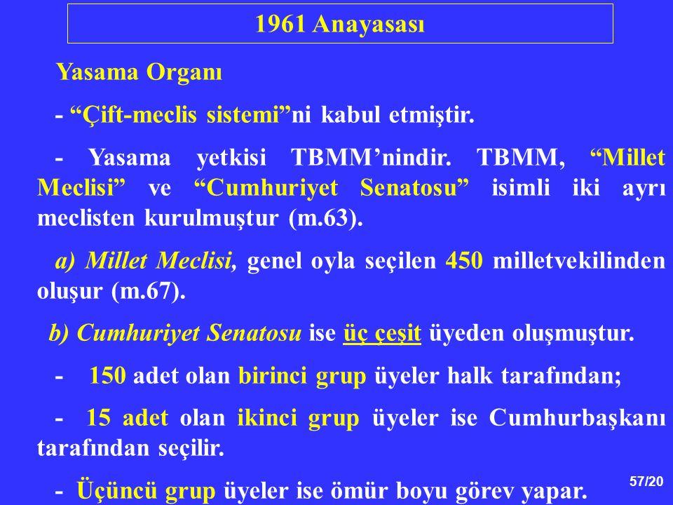 "57/20 Yasama Organı - ""Çift-meclis sistemi""ni kabul etmiştir. - Yasama yetkisi TBMM'nindir. TBMM, ""Millet Meclisi"" ve ""Cumhuriyet Senatosu"" isimli iki"