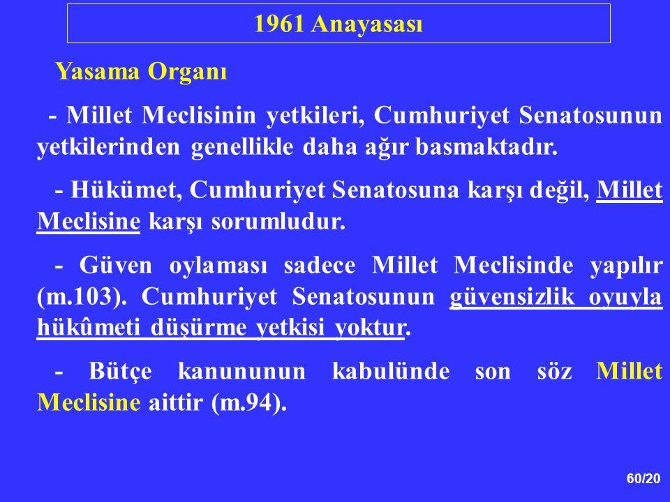 60/20 Yasama Organı - Millet Meclisinin yetkileri, Cumhuriyet Senatosunun yetkilerinden genellikle daha ağır basmaktadır. - Hükümet, Cumhuriyet Senato