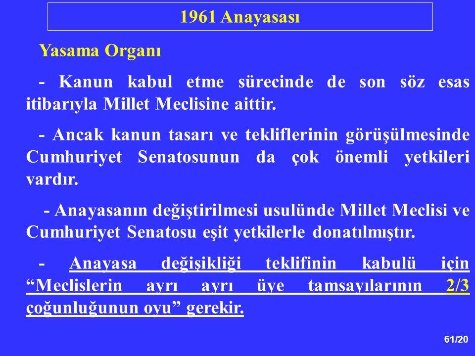 61/20 Yasama Organı - Kanun kabul etme sürecinde de son söz esas itibarıyla Millet Meclisine aittir. - Ancak kanun tasarı ve tekliflerinin görüşülmesi