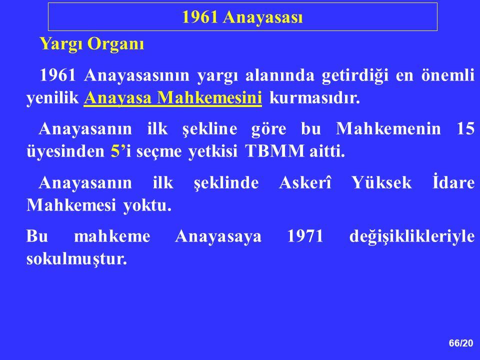 66/20 Yargı Organı 1961 Anayasasının yargı alanında getirdiği en önemli yenilik Anayasa Mahkemesini kurmasıdır. Anayasanın ilk şekline göre bu Mahkeme