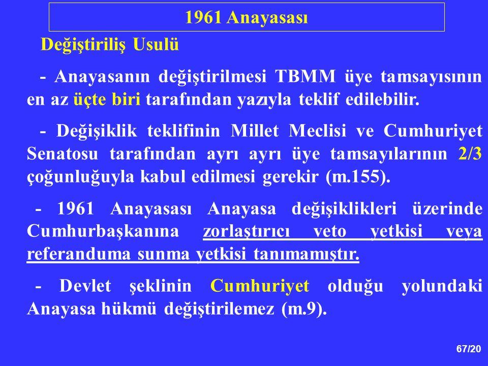 67/20 Değiştiriliş Usulü - Anayasanın değiştirilmesi TBMM üye tamsayısının en az üçte biri tarafından yazıyla teklif edilebilir. - Değişiklik teklifin