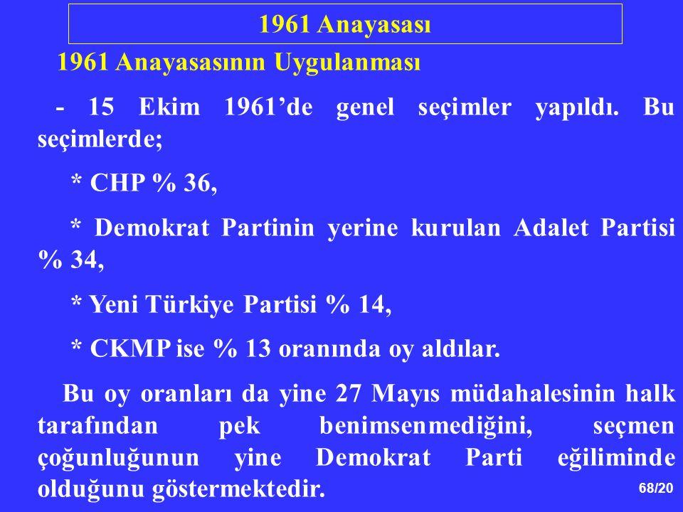 68/20 1961 Anayasasının Uygulanması - 15 Ekim 1961'de genel seçimler yapıldı. Bu seçimlerde; * CHP % 36, * Demokrat Partinin yerine kurulan Adalet Par