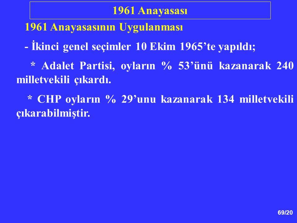 69/20 1961 Anayasasının Uygulanması - İkinci genel seçimler 10 Ekim 1965'te yapıldı; * Adalet Partisi, oyların % 53'ünü kazanarak 240 milletvekili çık