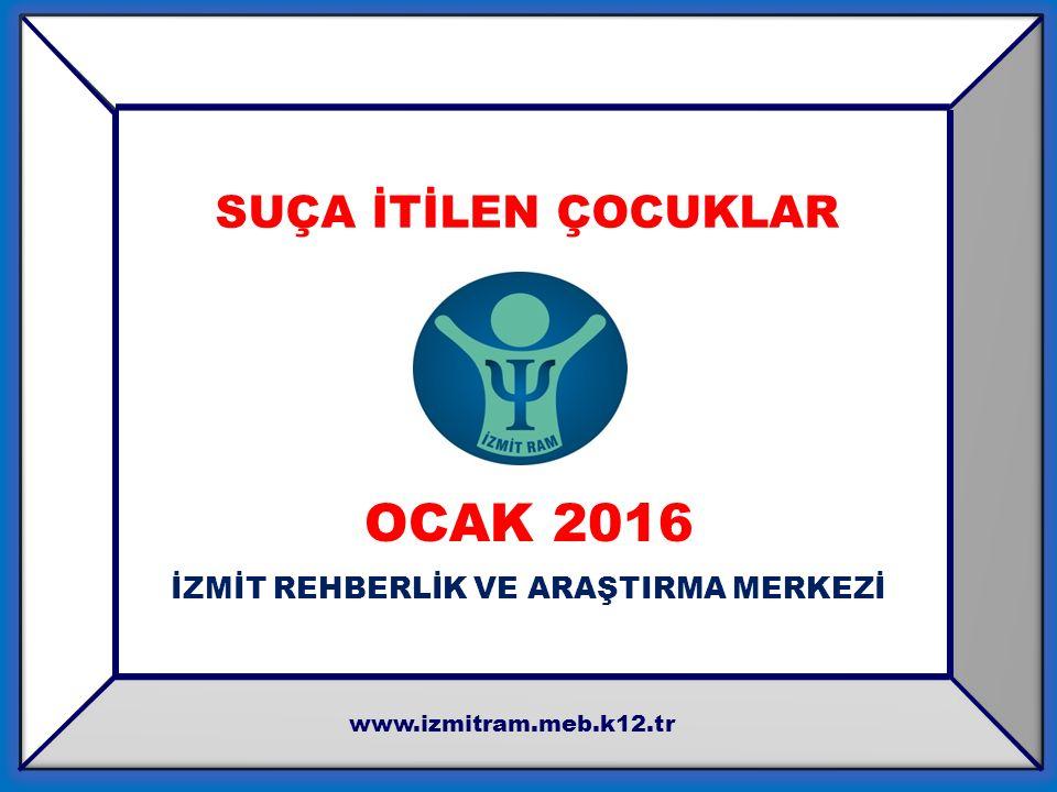 OCAK 2016 İZMİT REHBERLİK VE ARAŞTIRMA MERKEZİ www.izmitram.meb.k12.tr SUÇA İTİLEN ÇOCUKLAR