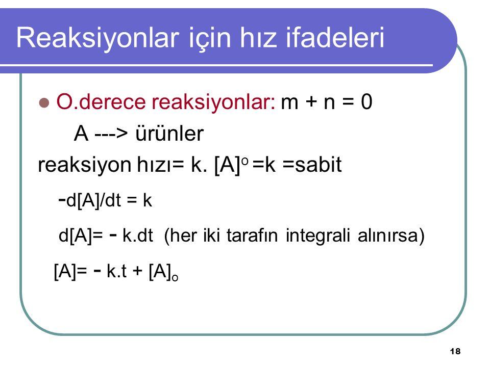 18 Reaksiyonlar için hız ifadeleri O.derece reaksiyonlar: m + n = 0 A ---> ürünler reaksiyon hızı= k. [A] o =k =sabit - d[A]/dt = k d[A]= - k.dt (her