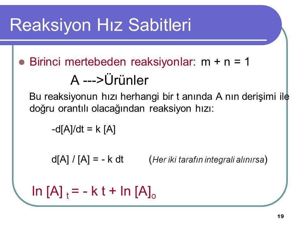 19 Reaksiyon Hız Sabitleri Birinci mertebeden reaksiyonlar: m + n = 1 A --->Ürünler Bu reaksiyonun hızı herhangi bir t anında A nın derişimi ile doğru