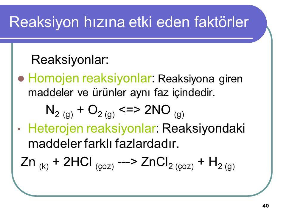 40 Reaksiyon hızına etki eden faktörler Reaksiyonlar: Homojen reaksiyonlar: Reaksiyona giren maddeler ve ürünler aynı faz içindedir. N 2 (g) + O 2 (g)