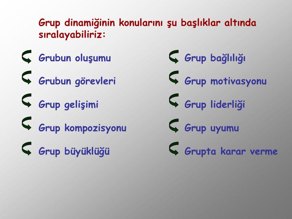Grup dinamiğinin konularını şu başlıklar altında sıralayabiliriz: Grubun oluşumuGrup bağlılığı Grubun görevleriGrup motivasyonu Grup gelişimiGrup lide
