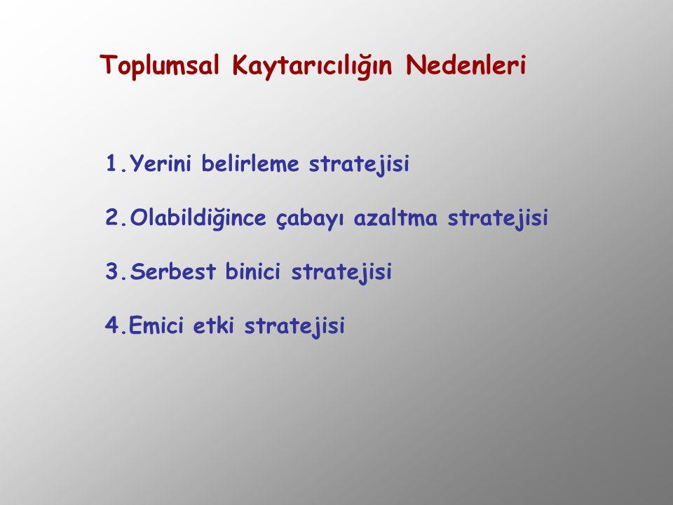 Toplumsal Kaytarıcılığın Nedenleri 1.Yerini belirleme stratejisi 2.Olabildiğince çabayı azaltma stratejisi 3.Serbest binici stratejisi 4.Emici etki st