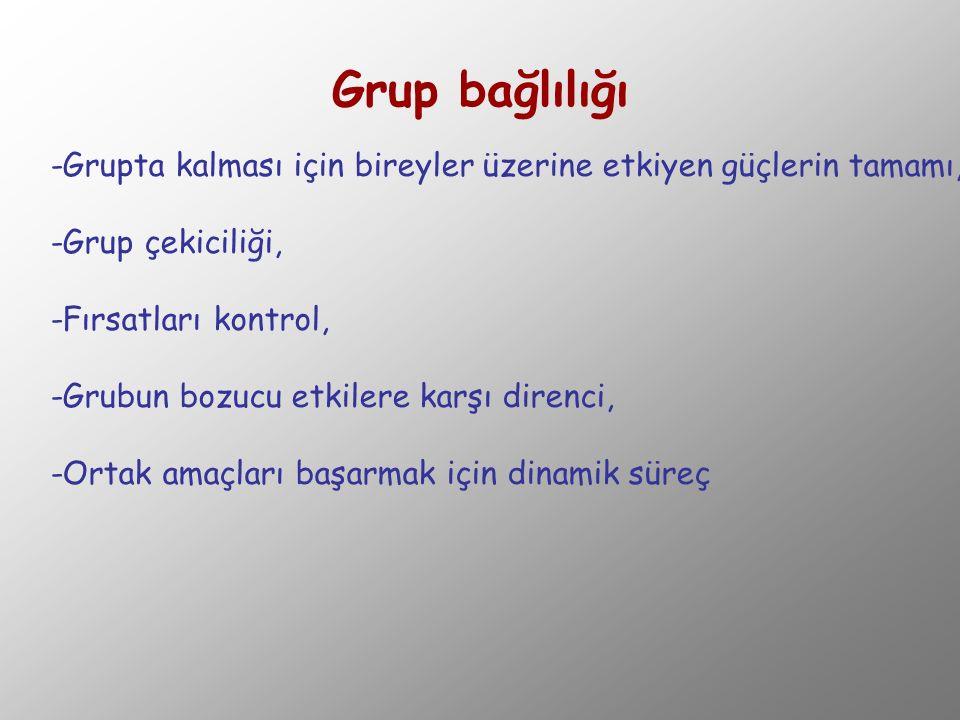 Grup bağlılığı -Grupta kalması için bireyler üzerine etkiyen güçlerin tamamı, -Grup çekiciliği, -Fırsatları kontrol, -Grubun bozucu etkilere karşı dir