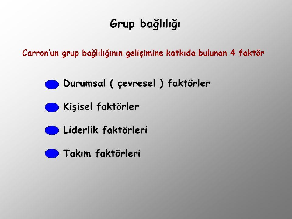 Grup bağlılığı Carron'un grup bağlılığının gelişimine katkıda bulunan 4 faktör Durumsal ( çevresel ) faktörler Kişisel faktörler Liderlik faktörleri T