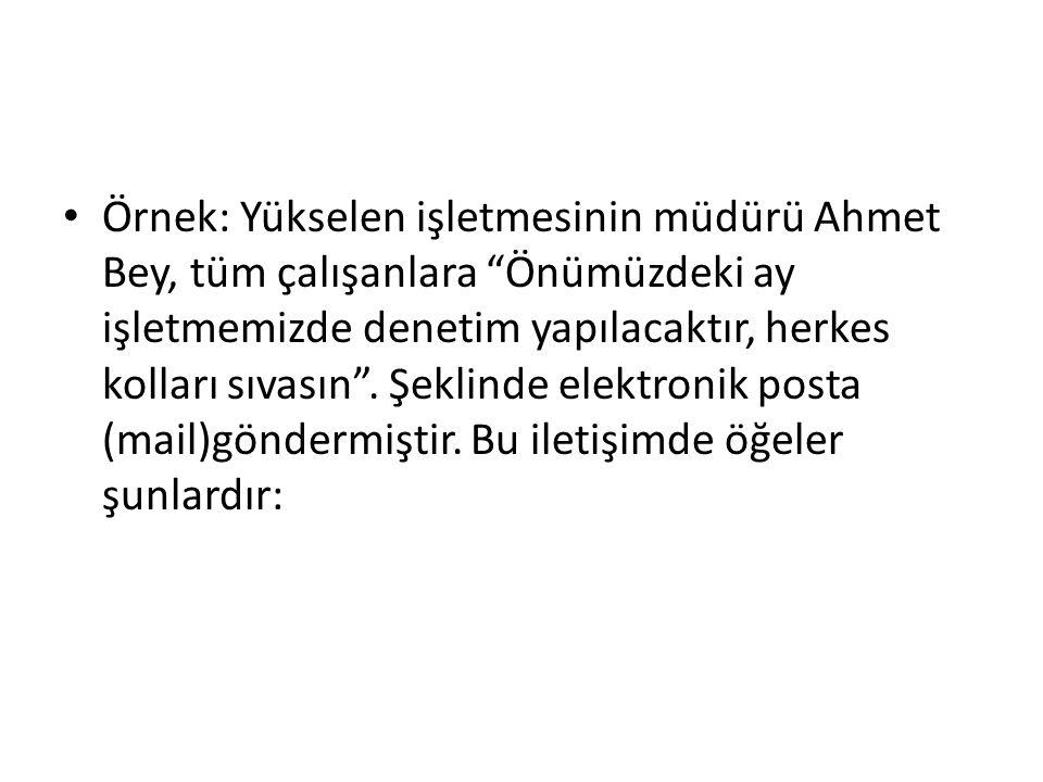 """Örnek: Yükselen işletmesinin müdürü Ahmet Bey, tüm çalışanlara """"Önümüzdeki ay işletmemizde denetim yapılacaktır, herkes kolları sıvasın"""". Şeklinde ele"""