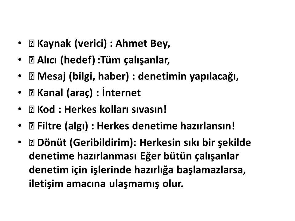  Kaynak (verici) : Ahmet Bey,  Alıcı (hedef) :Tüm çalışanlar,  Mesaj (bilgi, haber) : denetimin yapılacağı,  Kanal (araç) : İnternet  Kod : Herke