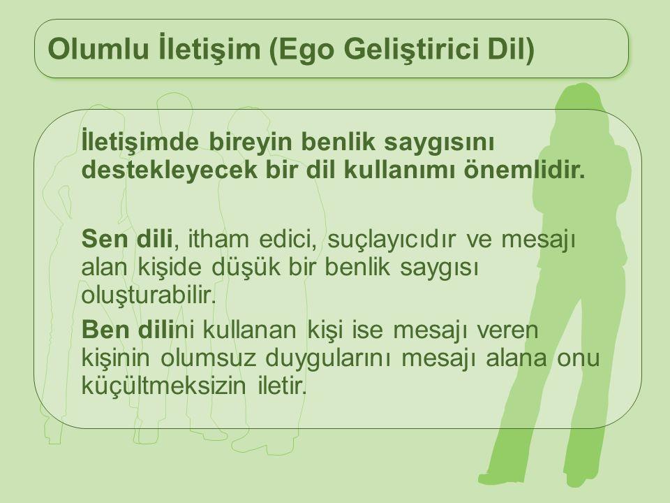 Olumlu İletişim (Ego Geliştirici Dil) İletişimde bireyin benlik saygısını destekleyecek bir dil kullanımı önemlidir. Sen dili, itham edici, suçlayıcıd