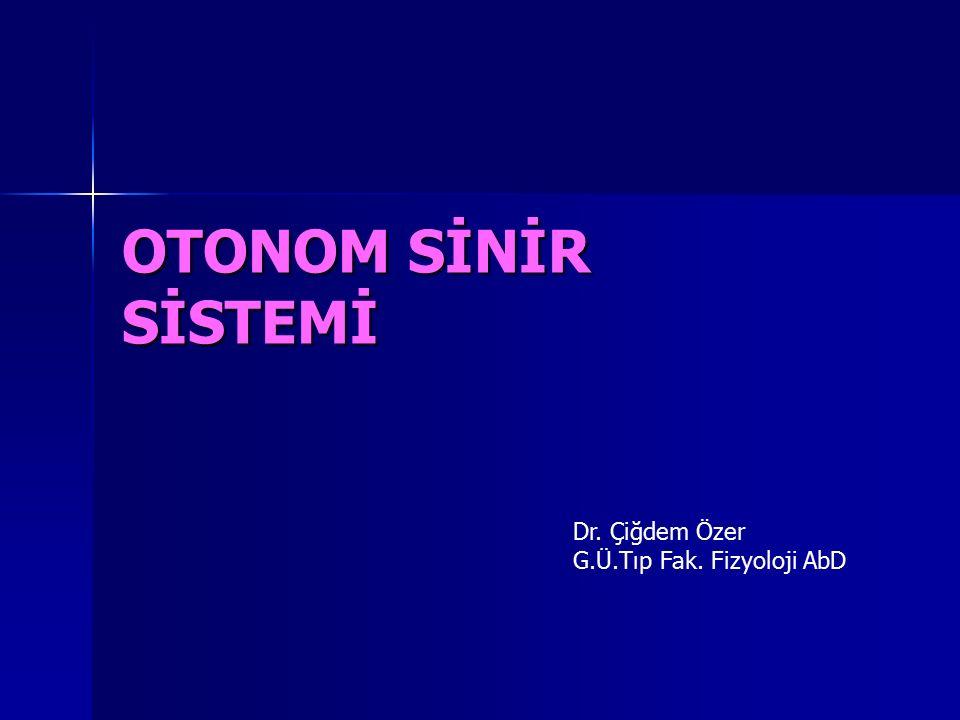 Hedef Organlar Parasempatik sistem Kolinerjik Uyarıya Yanıtlar Sempatik sistem Noradrenerjik Uyarılara Yanıtlar R.Tipi 2Yanıt Arterioller Koroner Büzülme  1,  2 Büzülme (vazokontraksiyon) 22 Genişleme (vazodilatasyon) Deri ve MukozaGenişleme  1,  2 Büzülme İskelet KasıGenişleme 11 Büzülme 22 Genişleme BeyinGenişleme 11 Büzülme AkciğerGenişleme 11 Büzülme 22 Genişleme Karın İçi Organlar… 11 Büzülme 22 Genişleme Tükrük BezleriGenişleme  1,  2 Büzülme Böbrek…  1,  2 Büzülme  1,  2 Genişleme Sistemik Venler…  1,  2 Büzülme  2 Genişleme
