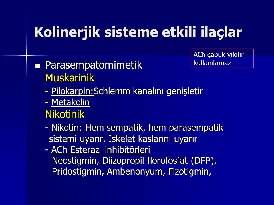 Kolinerjik sisteme etkili ilaçlar Parasempatomimetik ParasempatomimetikMuskarinik - Pilokarpin:Schlemm kanalını genişletir - Metakolin Nikotinik - Nik