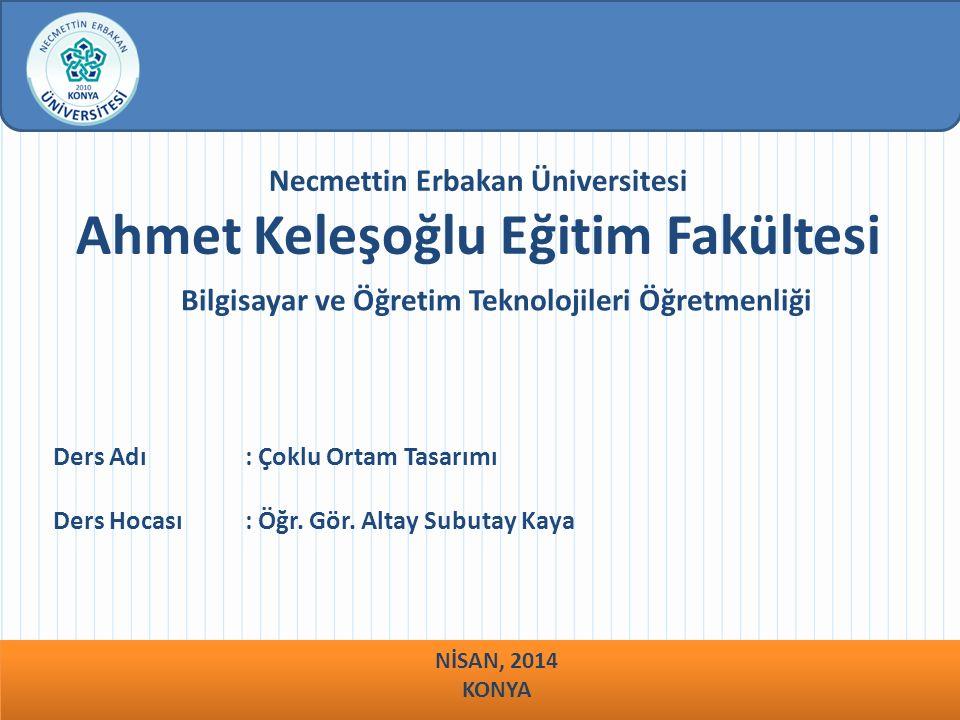 Necmettin Erbakan Üniversitesi Ahmet Keleşoğlu Eğitim Fakültesi Bilgisayar ve Öğretim Teknolojileri Öğretmenliği Ders Adı : Çoklu Ortam Tasarımı Ders Hocası : Öğr.