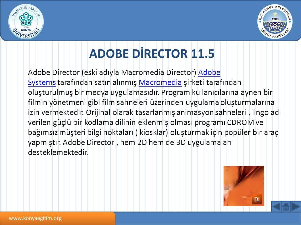 ADOBE DİRECTOR 11.5 Adobe Director (eski adıyla Macromedia Director) Adobe Systems tarafından satın alınmış Macromedia şirketi tarafından oluşturulmuş bir medya uygulamasıdır.