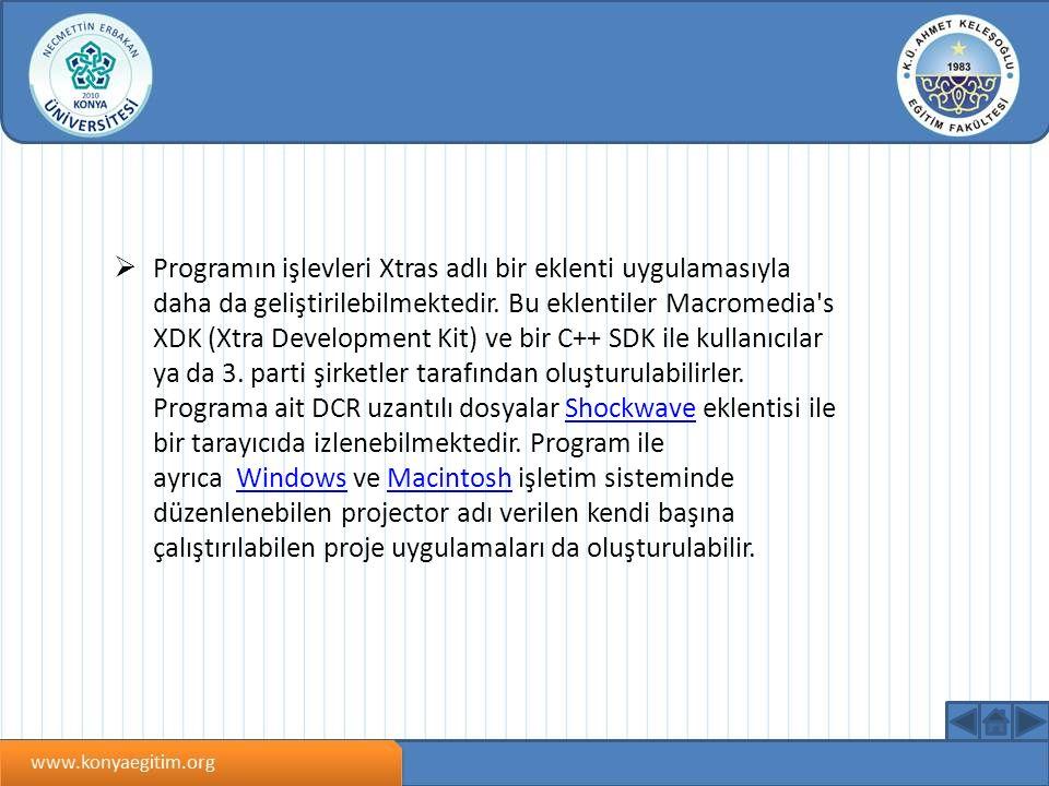  Programın işlevleri Xtras adlı bir eklenti uygulamasıyla daha da geliştirilebilmektedir.