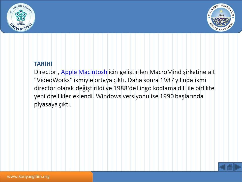 TARİHİ Director, Apple Macintosh için geliştirilen MacroMind şirketine ait VideoWorks ismiyle ortaya çıktı.
