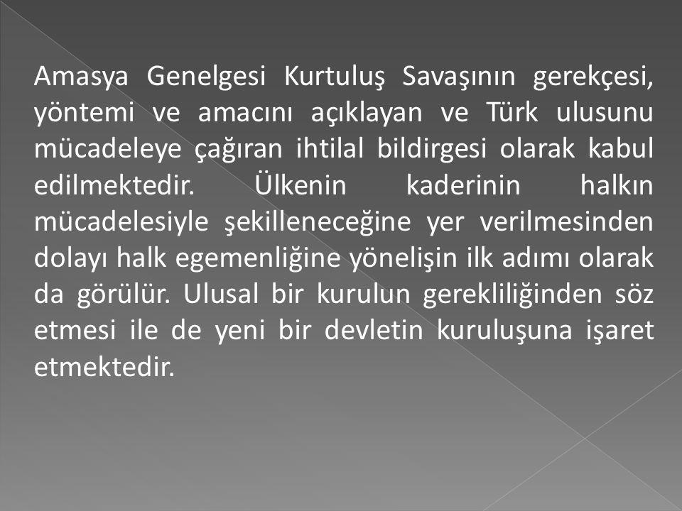 Anadolu'nun her yönden en güvenli yeri olan Sivas'ta ulusal bir kongre tez elden toplanacaktır. Bu kongre için her ilden üçer temsilci seçilip gönderi