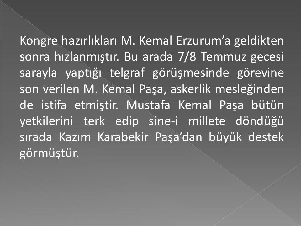 17-21 Haziran 1919'daki Vilayat-ı Şarkiye Müdafaa-i Hukuk-u Milliye Cemiyeti'nin Erzurum il kongresinde, bölgeyi bekleyen tehlikeler tartışılmış, ve E