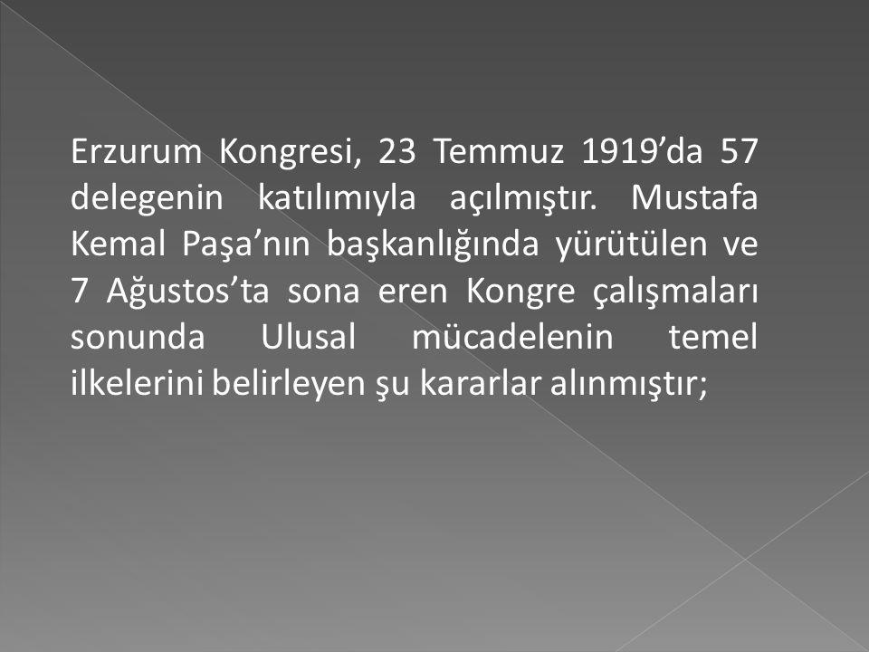 Kongre hazırlıkları M. Kemal Erzurum'a geldikten sonra hızlanmıştır. Bu arada 7/8 Temmuz gecesi sarayla yaptığı telgraf görüşmesinde görevine son veri