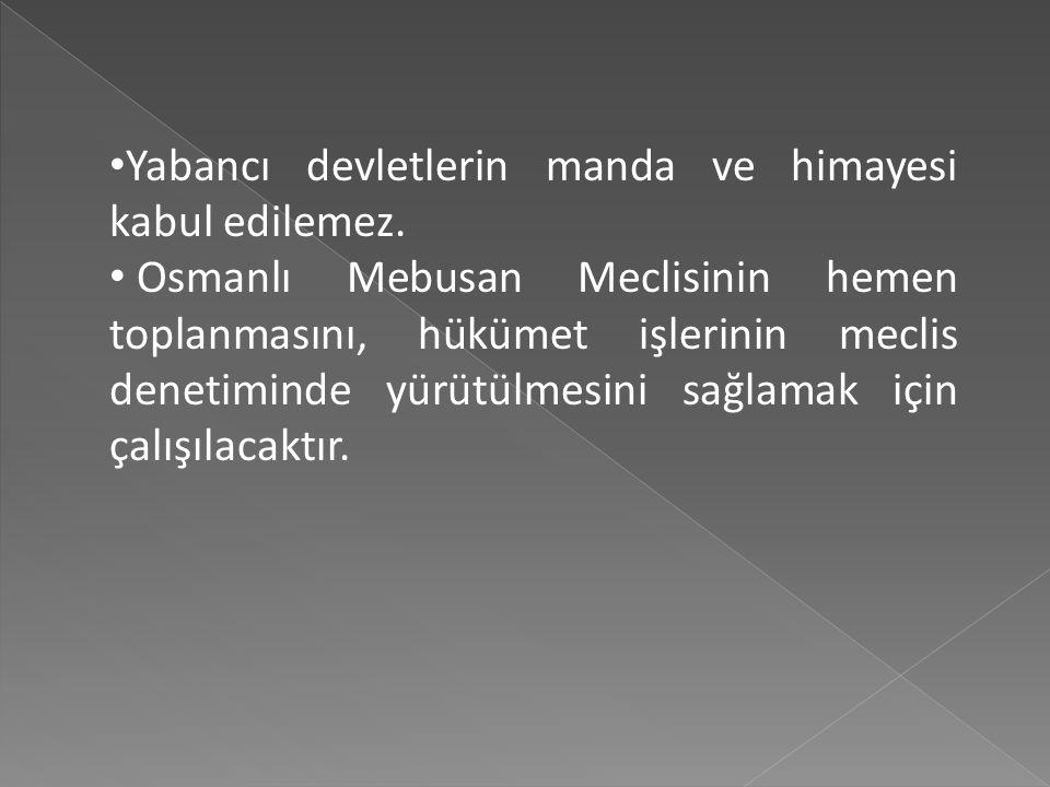 Yurdun ve bağımsızlığın korunmasına ve güvenliğinin sağlanmasına İstanbul hükümetinin gücü yetmezse, geçici bir hükümet kurulacaktır. Bu hükümet üyele
