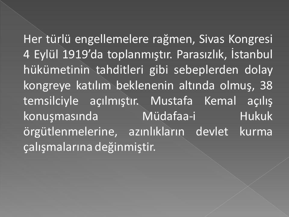  Sivas Kongresi hazırlıkları, Damat Ferit hükümeti ve İtilaf Devletlerinin tehdit ve engellemeleri altında devam etmiş ve bu arada kongreyi dağıtmak