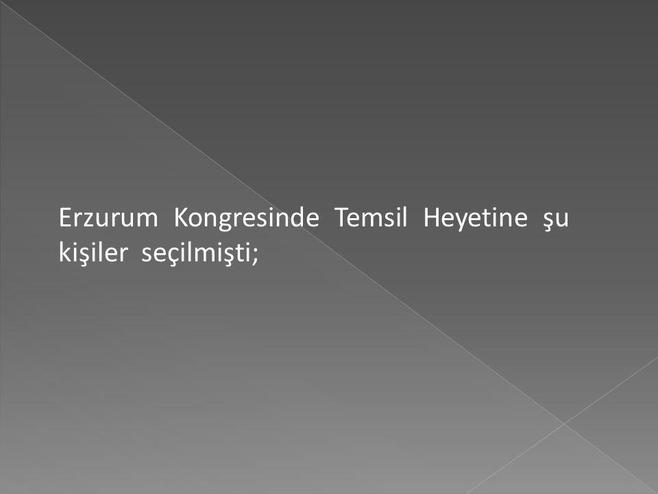 Kongre'de Mustafa kemal Paşa'nın başkanlığında ülkenin tamamını temsil edecek 16 kişilik Temsil Heyeti oluşturulmuş ve son gün kabul edilen bildiride