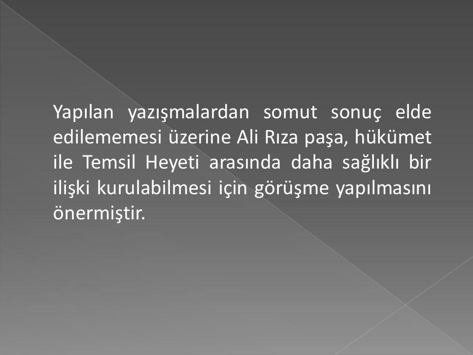 İstanbul'a yapılan baskılar sonunda istifa etmek zorunda kalan Damat Ferit paşa'nın yerine 2 Ekim 1919'da hükümet kuran Ali Rıza Paşa zamanında Temsil