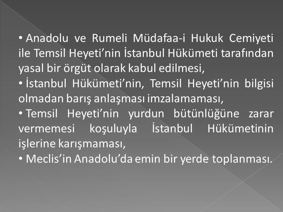 Yapılan görüşmelerde şu konularda anlaşmaya varılmıştır: Mondros Mütarekesi ile belirlenmiş olan Türk vatanının bütünlüğünün ve bağımsızlığının sağlan