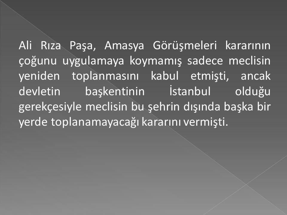 Amasya Görüşmelerinden sonraki dönemde en önemli meselelerden biri meclisin nerede toplanacağı konusu idi. Mustafa Kemal Paşa, 16- 28 Kasım 1919'da Si