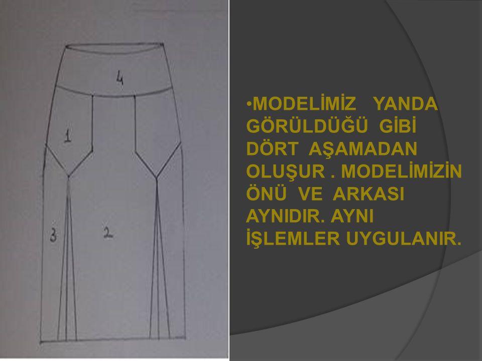 Modelimizin başlangıç noktasından aşağı 4 cm bele paralel inilerek kemer hattı belirlenir, pens yana taşınır ve kalıptan atılır.