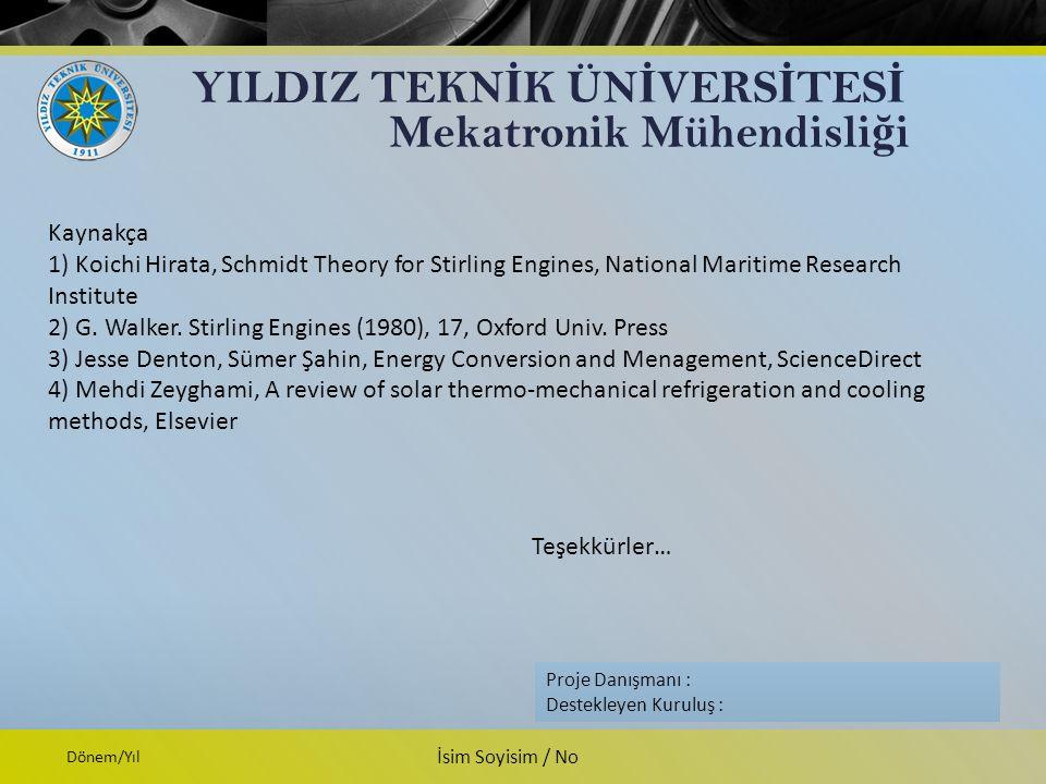 YILDIZ TEKN İ K ÜN İ VERS İ TES İ Mekatronik Mühendisli ğ i Proje Danışmanı: Destekleyen Kuruluş: İsim Soyisim Firma İsmi Dönem/Yıl İsim Soyisim / No Proje Danışmanı : Destekleyen Kuruluş : Kaynakça 1) Koichi Hirata, Schmidt Theory for Stirling Engines, National Maritime Research Institute 2) G.