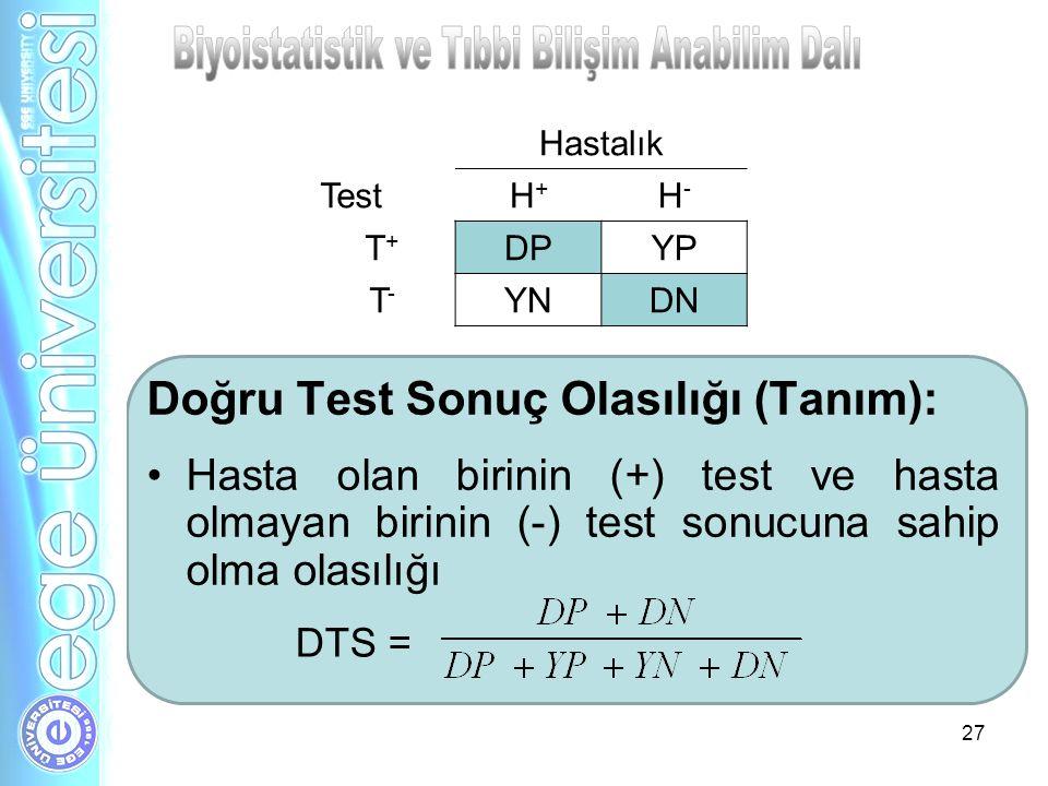 Doğru Test Sonuç Olasılığı (Tanım): Hasta olan birinin (+) test ve hasta olmayan birinin (-) test sonucuna sahip olma olasılığı 27 DTS = Hastalık Test