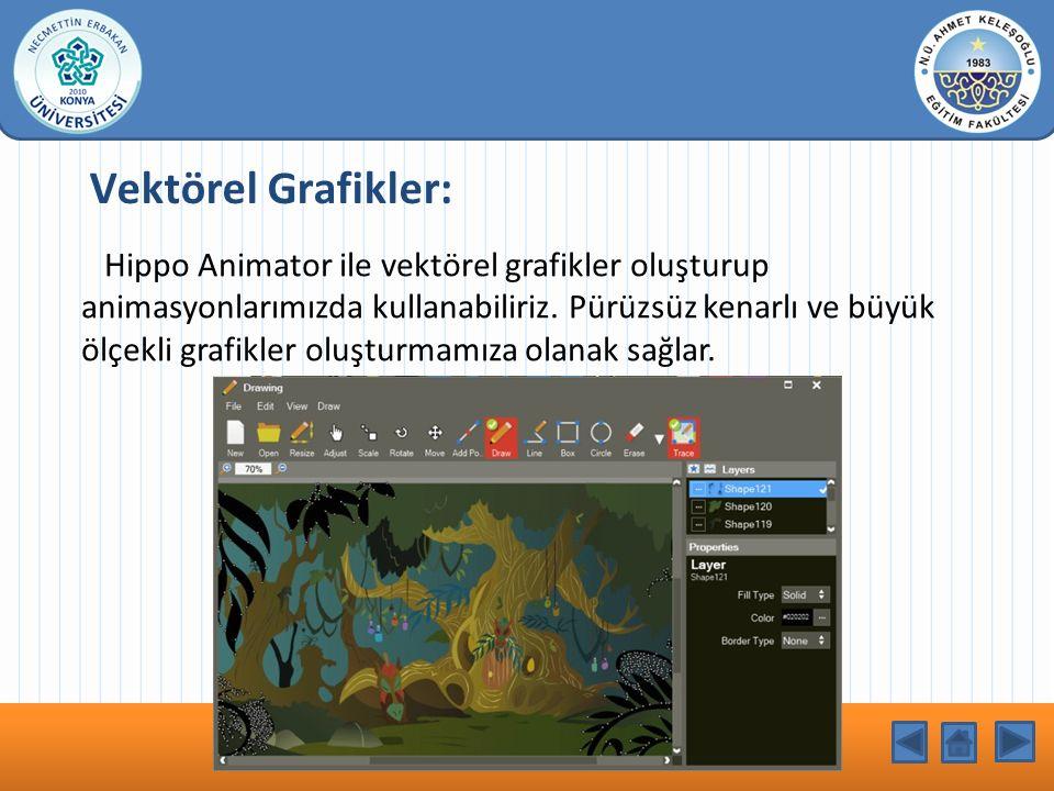 KONU BAŞLIĞI Hippo Animator ile vektörel grafikler oluşturup animasyonlarımızda kullanabiliriz. Pürüzsüz kenarlı ve büyük ölçekli grafikler oluşturmam