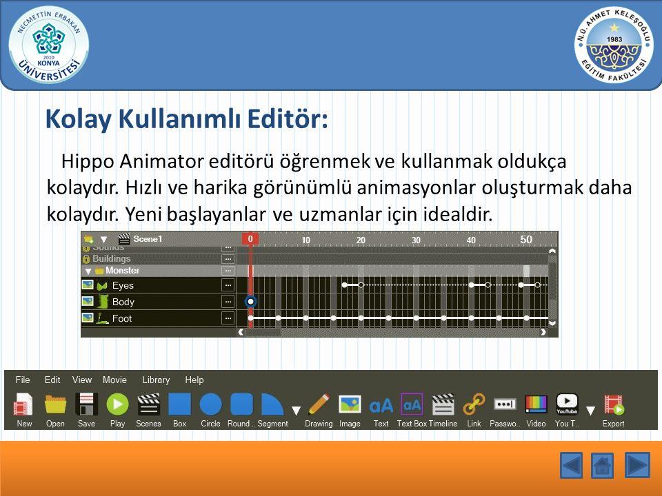 Kolay Kullanımlı Editör: Hippo Animator editörü öğrenmek ve kullanmak oldukça kolaydır. Hızlı ve harika görünümlü animasyonlar oluşturmak daha kolaydı